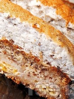 Бананов кейк / кекс / сладкиш с извара и глазура - снимка на рецептата